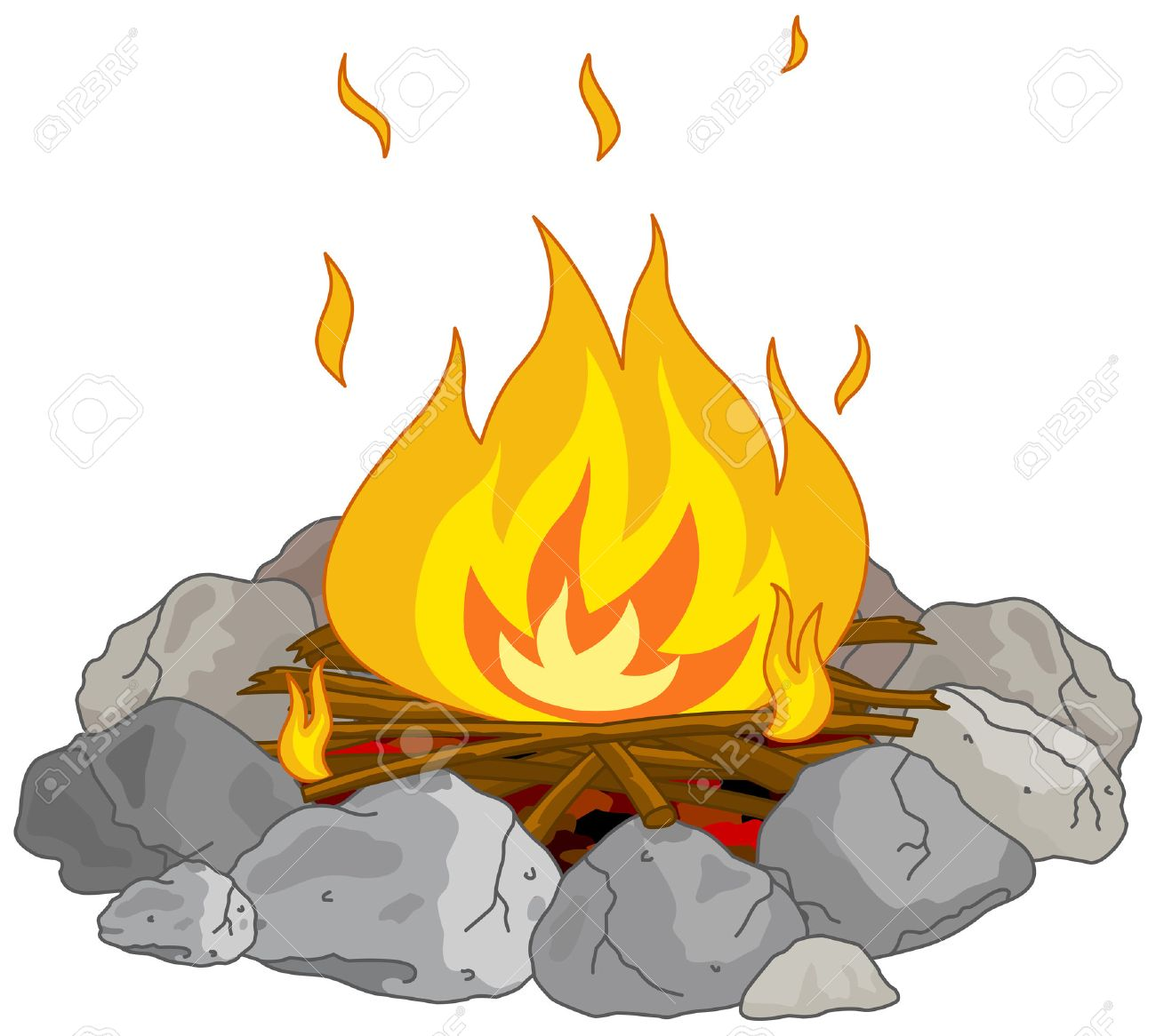 hight resolution of illustration of flame into fire pit stock vector 33677794