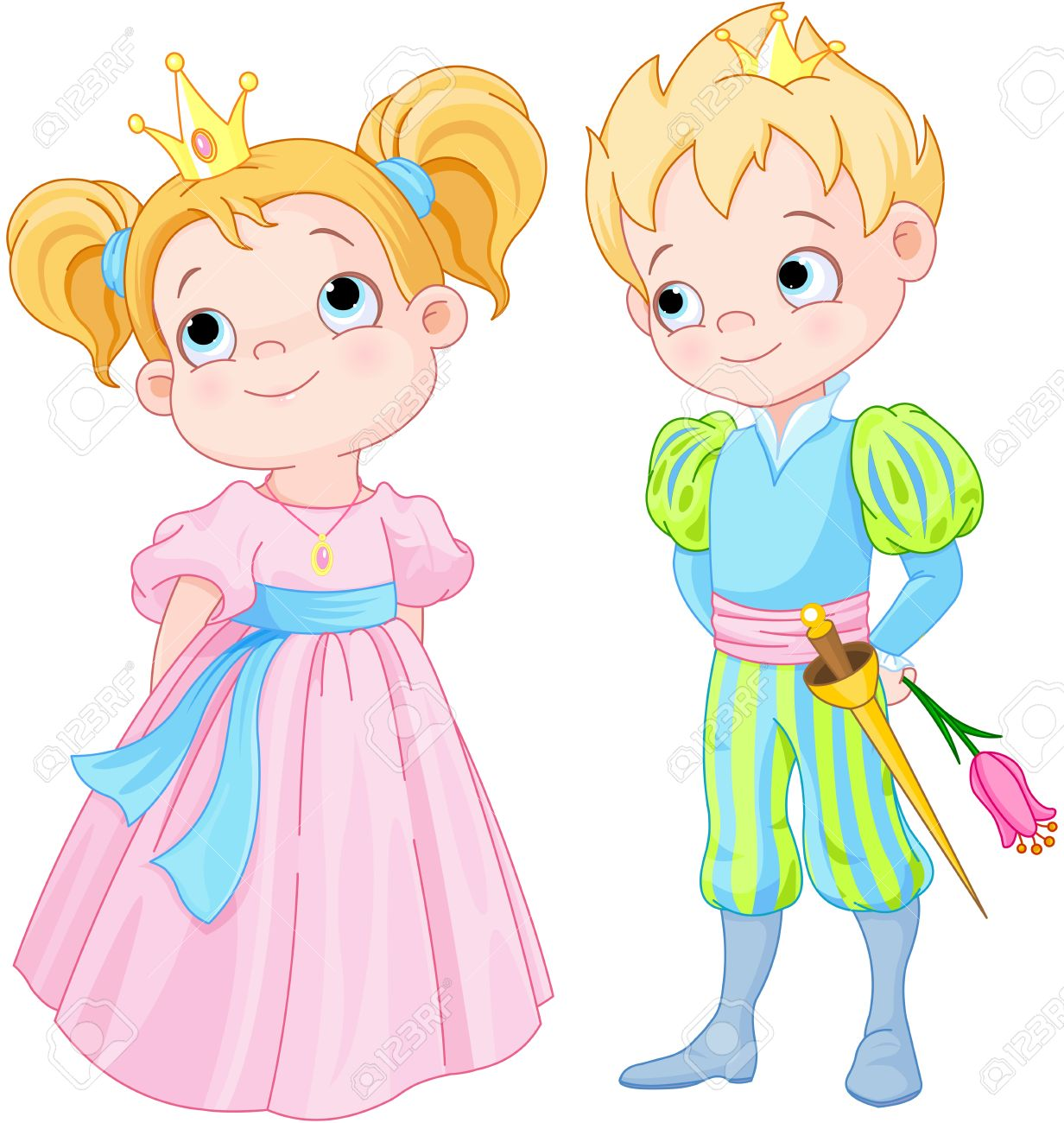 hight resolution of illustration of very cute prince and princess stock vector 35601226
