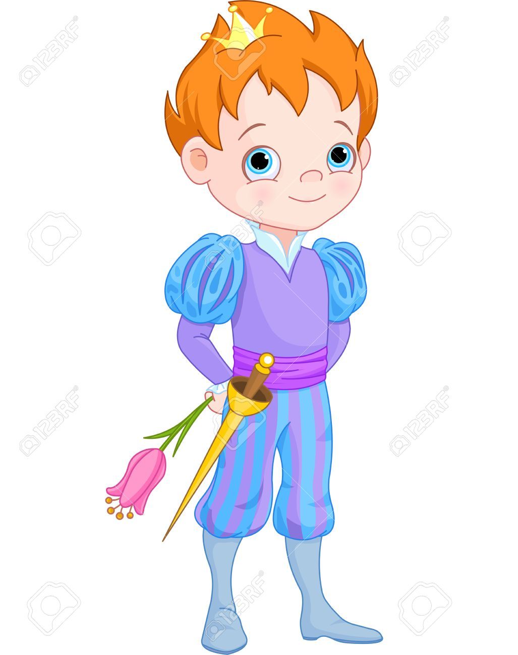 hight resolution of illustration of cute little prince holds flower stock vector 37763016