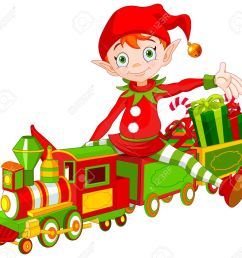 illustration of cute christmas elf sits on toy train stock vector 49802029 [ 1300 x 1209 Pixel ]