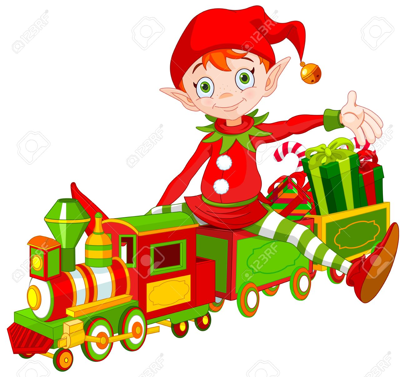 hight resolution of illustration of cute christmas elf sits on toy train stock vector 49802029