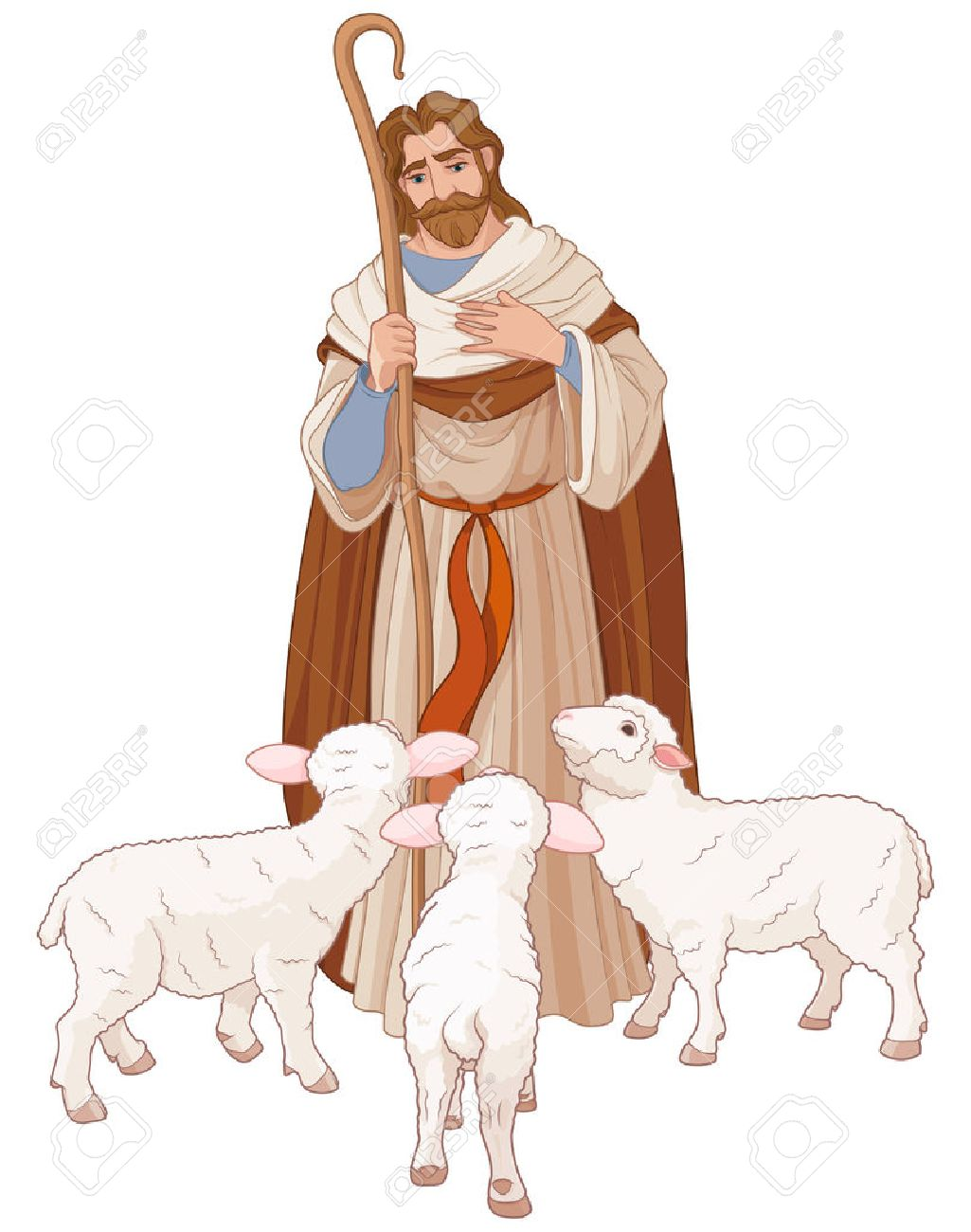 hight resolution of illustration of jesus christ is the good shepherd stock vector 69241553