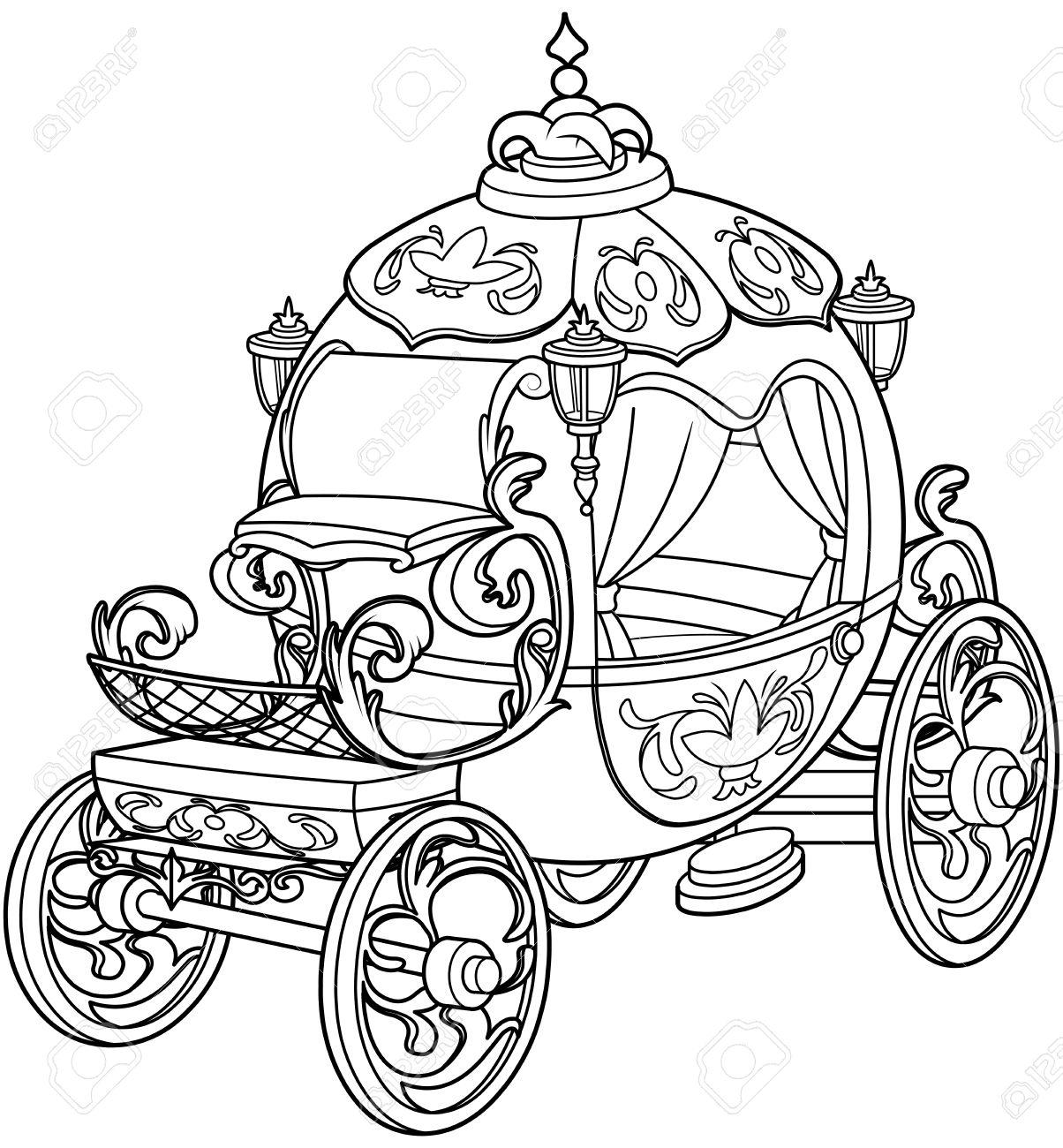 hight resolution of cinderella fairy tale pumpkin carriage coloring page stock vector 69153630