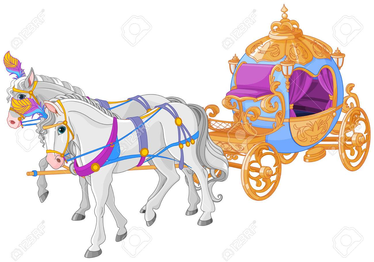 hight resolution of the golden carriage of cinderella stock vector 75957717