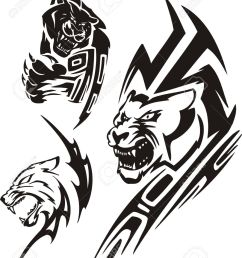 panther with sharp unguises and a lioness tribal predators vector illustration ready for vinyl [ 1042 x 1300 Pixel ]