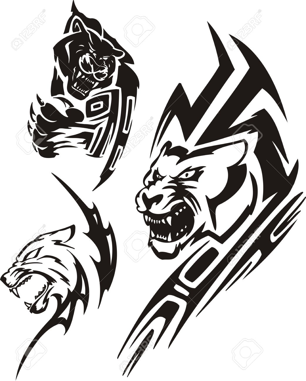 hight resolution of panther with sharp unguises and a lioness tribal predators vector illustration ready for vinyl