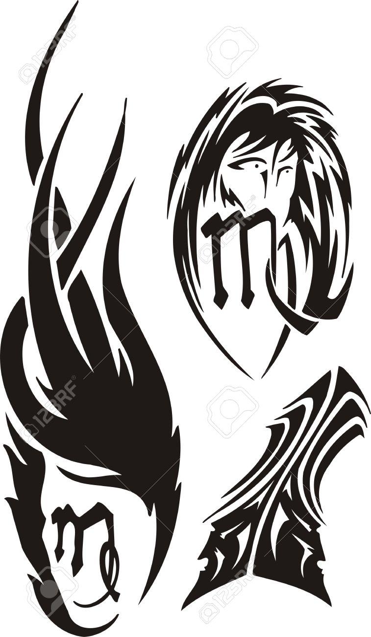 Virgo Gemelos Imágenes Prediseñadas Tribales Ilustración