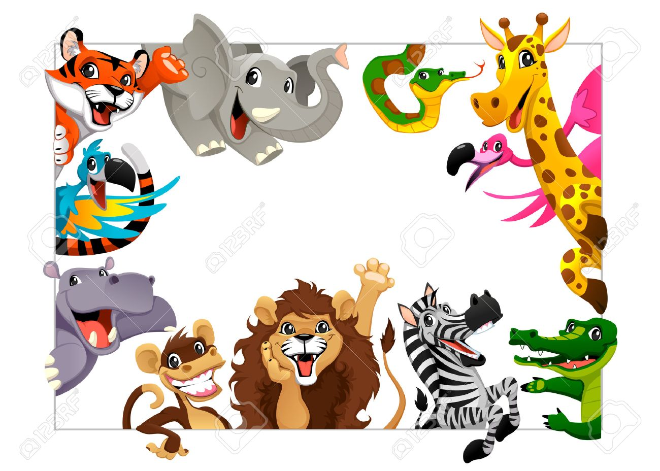 funny group of jungle