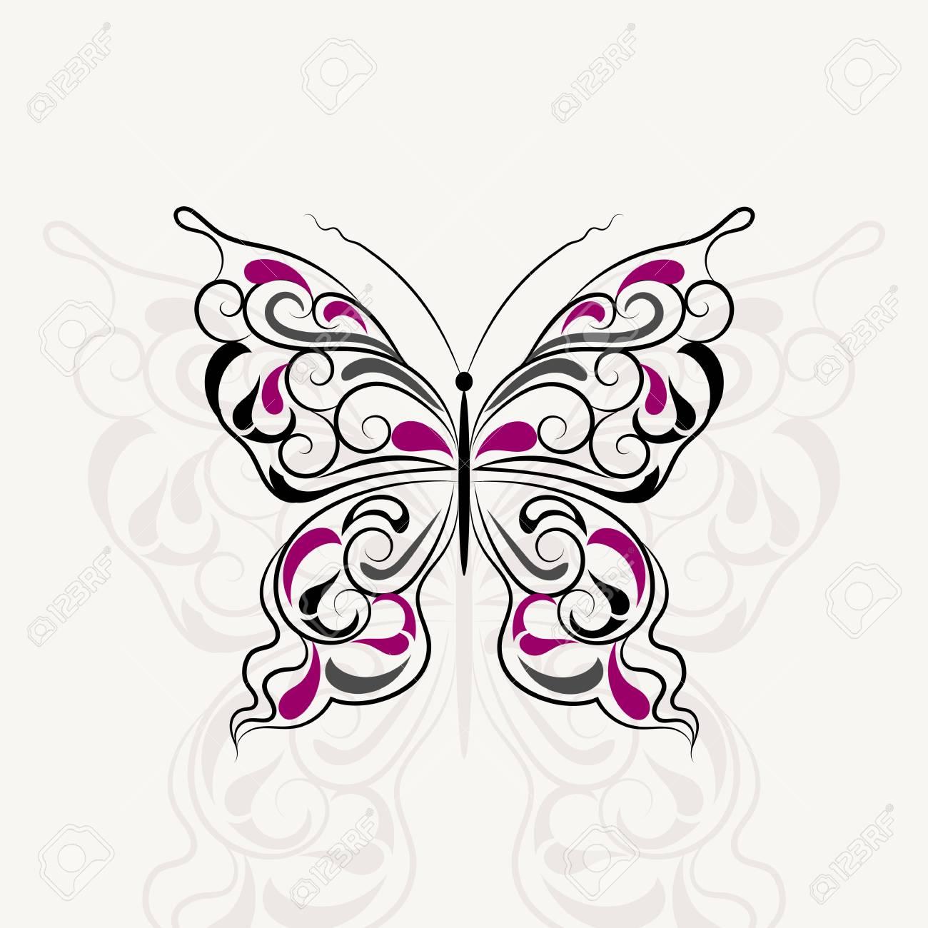 Motif Vintage En Forme D Un Papillon Avec L Ombre Isole Sur Fond Blanc