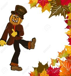 dancing pumpkin head scarecrow fall leaves stock vector 16185173 [ 1272 x 1300 Pixel ]