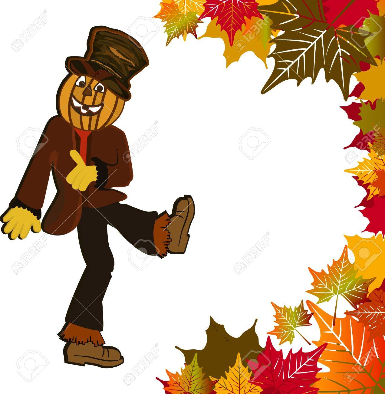 hight resolution of dancing pumpkin head scarecrow fall leaves stock vector 16185173