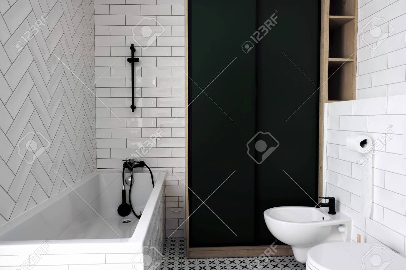 modern white bathroom washbasin with black tap and black and stock photo picture and royalty free image image 156360873