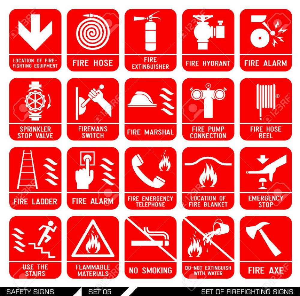 medium resolution of set of firefighting signs collection of warning signs vector illustration signs of danger