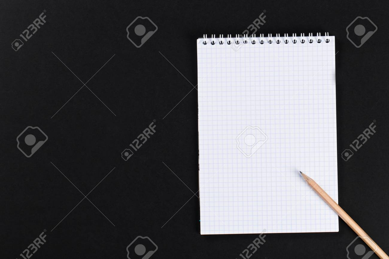 Blank Notepad With Pencil On Office Black Table. Template. Stock Photo -  45982722