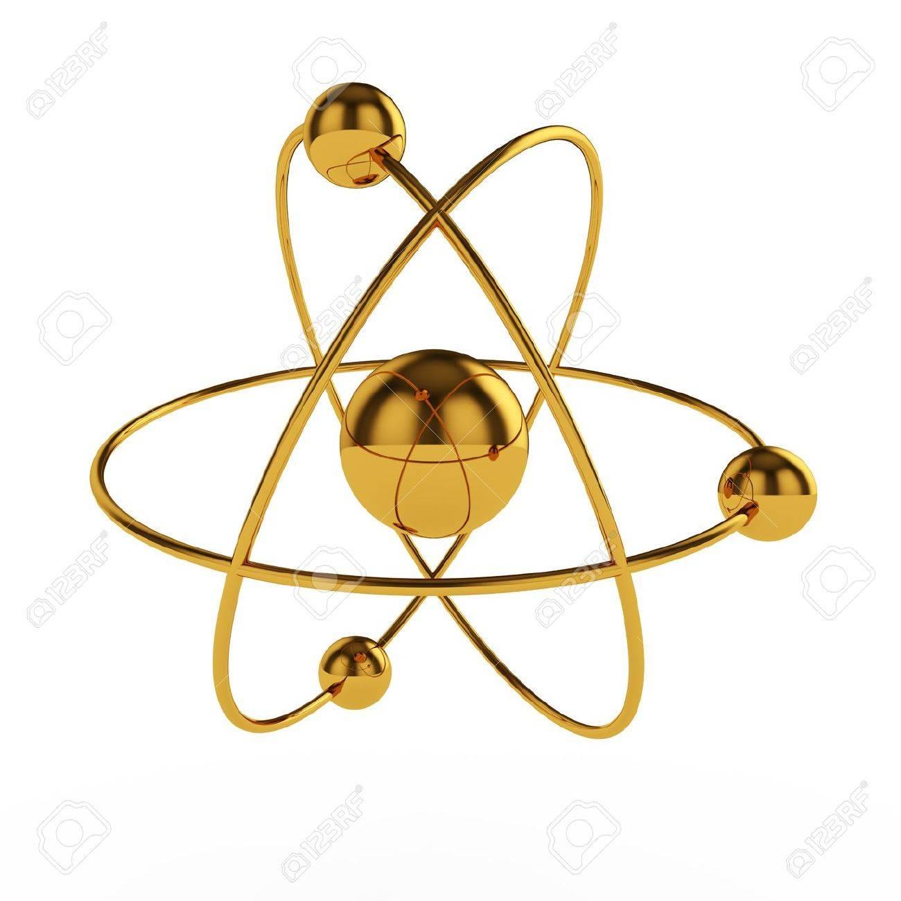 hight resolution of 3d illustration of golden atom model isolated on white background stock illustration 13044094