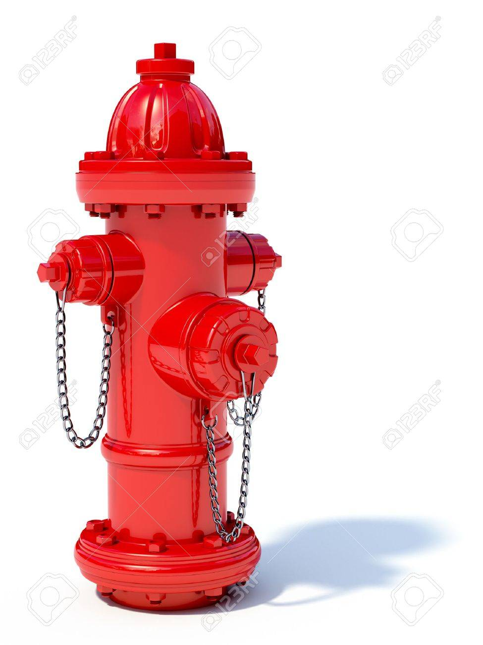 hight resolution of 3d illustration of red fire hydrant isolated on white background stock photo