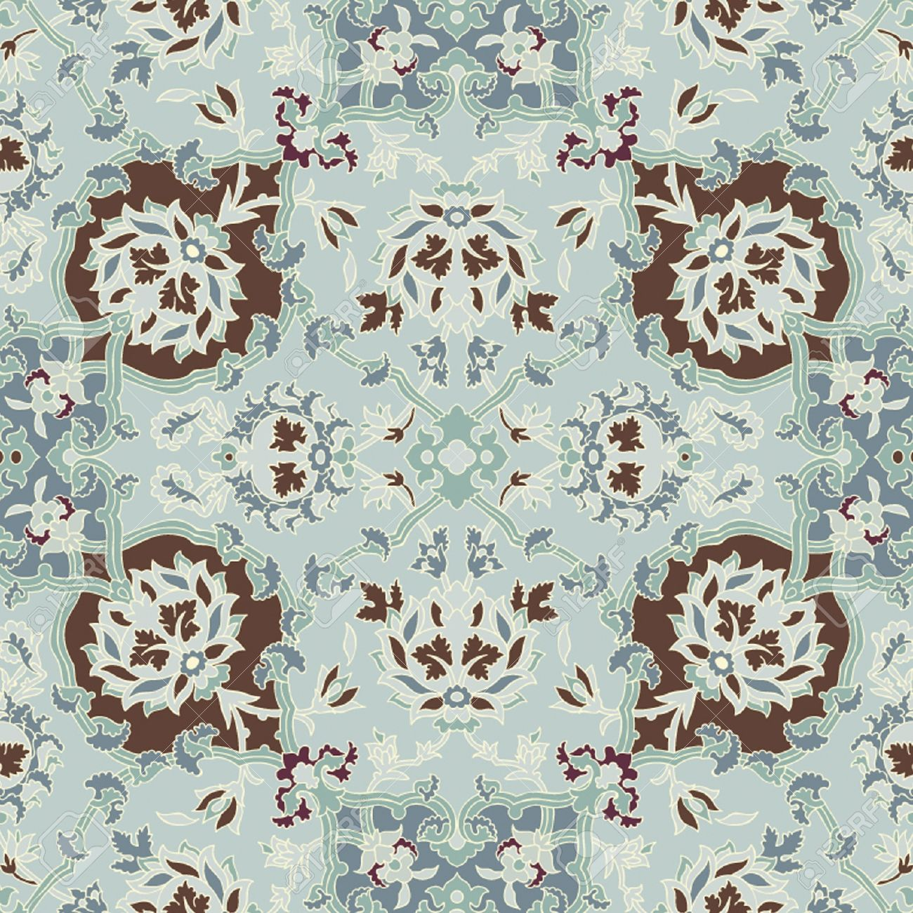 Seamless Paisley Or Oriental Rug Geometric Pattern Background