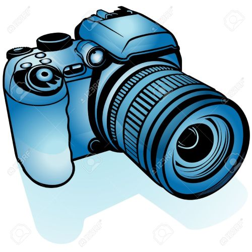 small resolution of blue digital camera colored illustration as vector stock vector 4351583