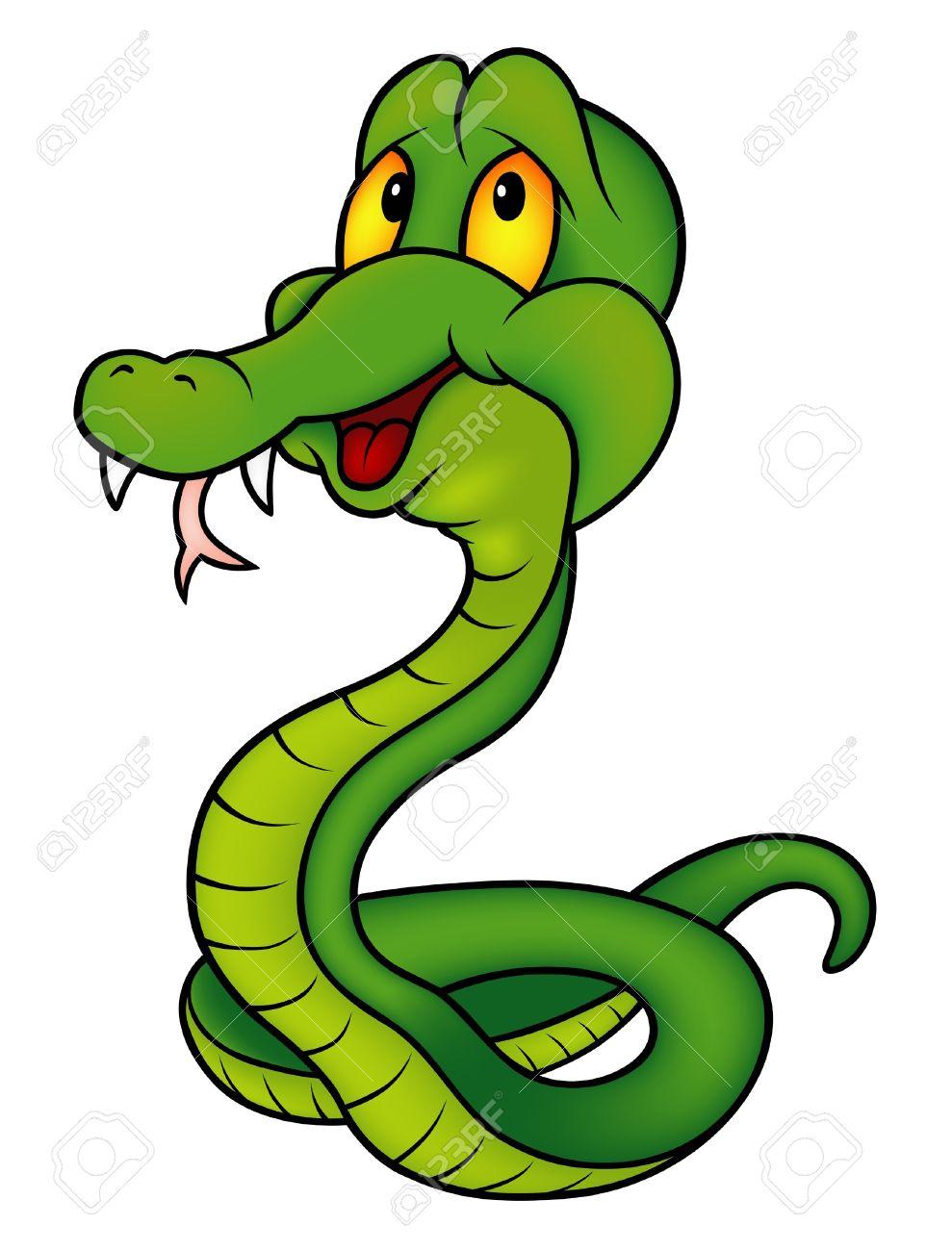 Serpent Dessin Sourire Vert Serpent Illustration De Bande Dessinee En Couleur