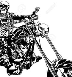 skeleton rider on chopper black and white hand drawn illustration vector [ 1300 x 953 Pixel ]