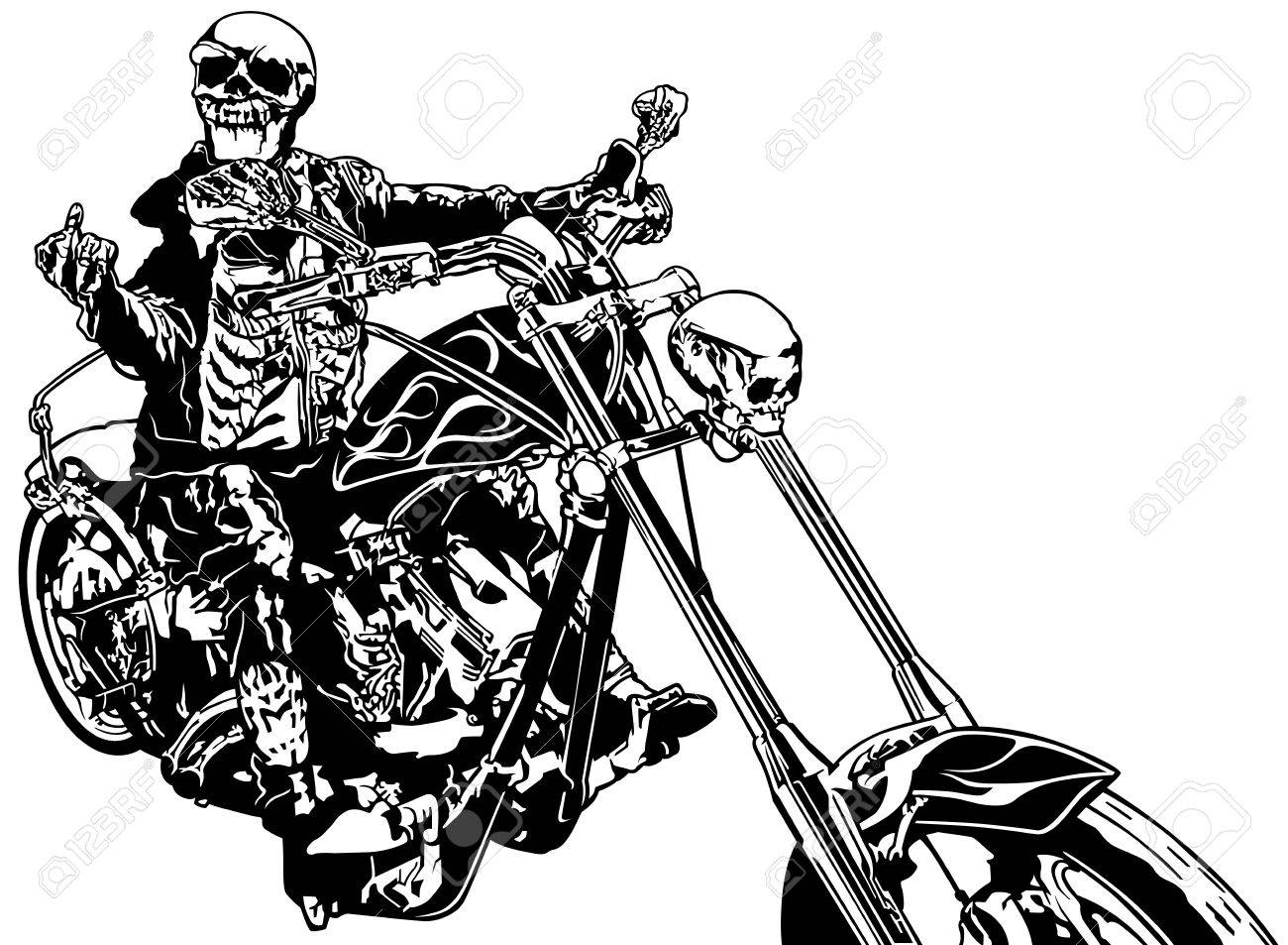 hight resolution of skeleton rider on chopper black and white hand drawn illustration vector