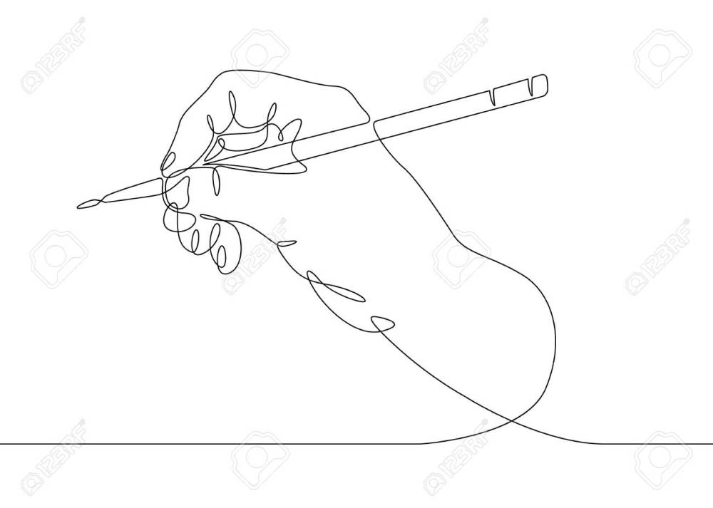 medium resolution of continuous one line drawing hand palm fingers gestures pen pencil stock vector 94609374