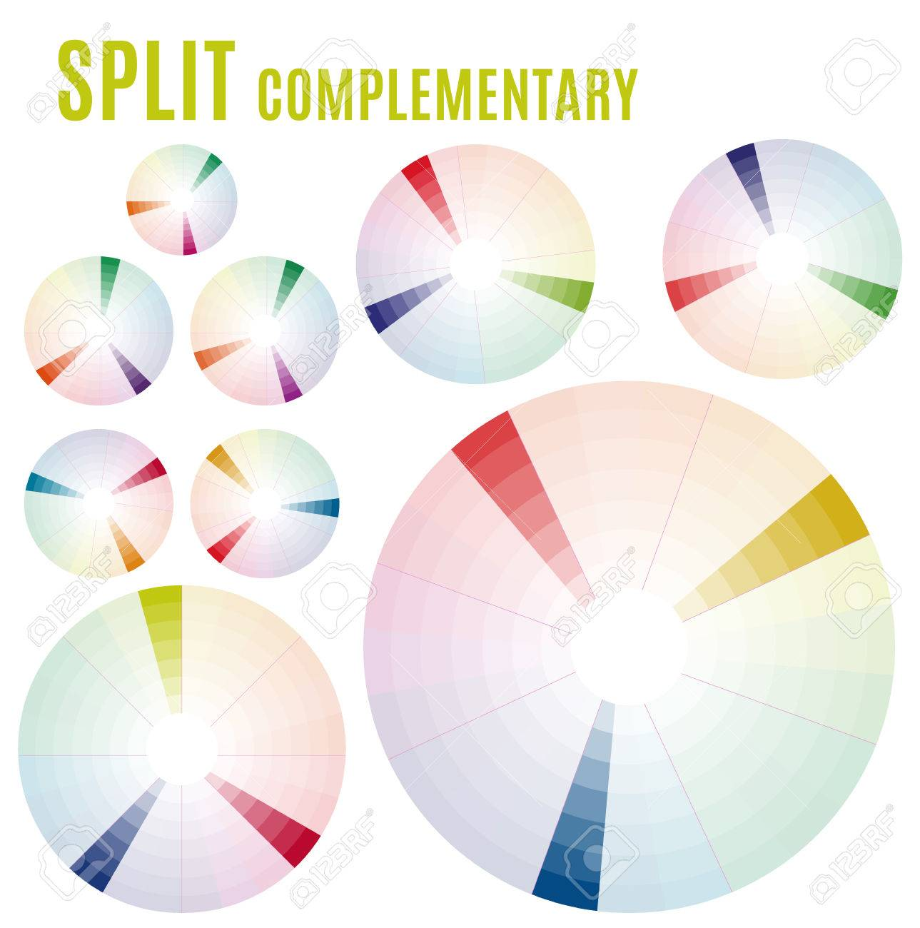 hight resolution of psychology of color perception harmonies of colors basic split complementary set part 2