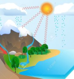 water cycle diagram the sun which drives the water cycle heats stock photo water [ 1300 x 1009 Pixel ]