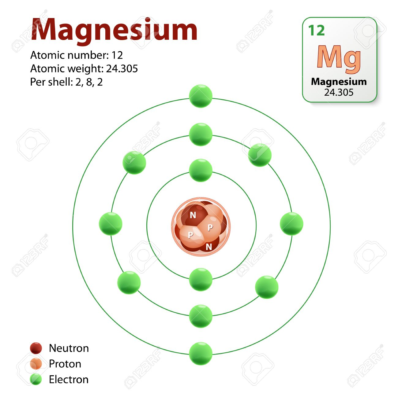 hight resolution of magnesium atom diagram representation of the element magnesium neutrons protons and electrons stock