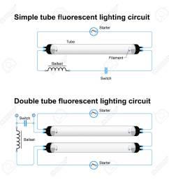 archivio fotografico circuito di illuminazione fluorescente singolo e doppio tubo schema vettoriale semplice [ 1300 x 1300 Pixel ]