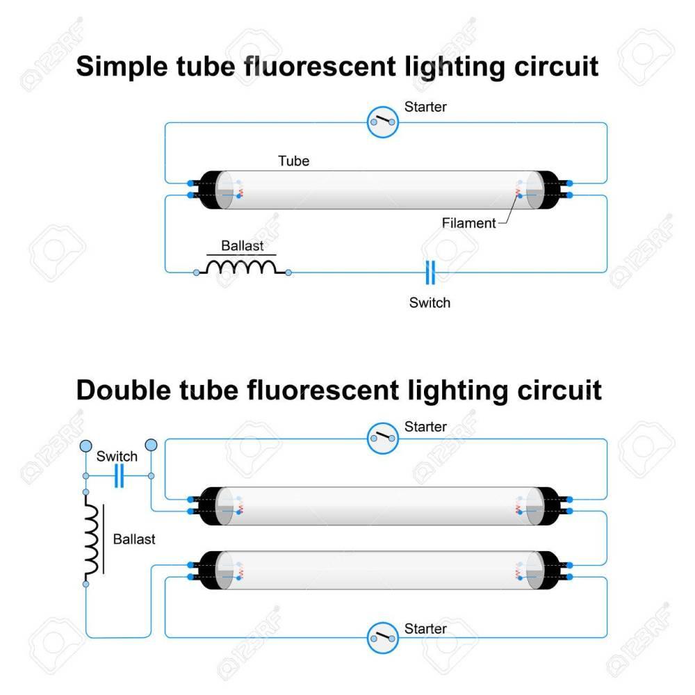 medium resolution of archivio fotografico circuito di illuminazione fluorescente singolo e doppio tubo schema vettoriale semplice