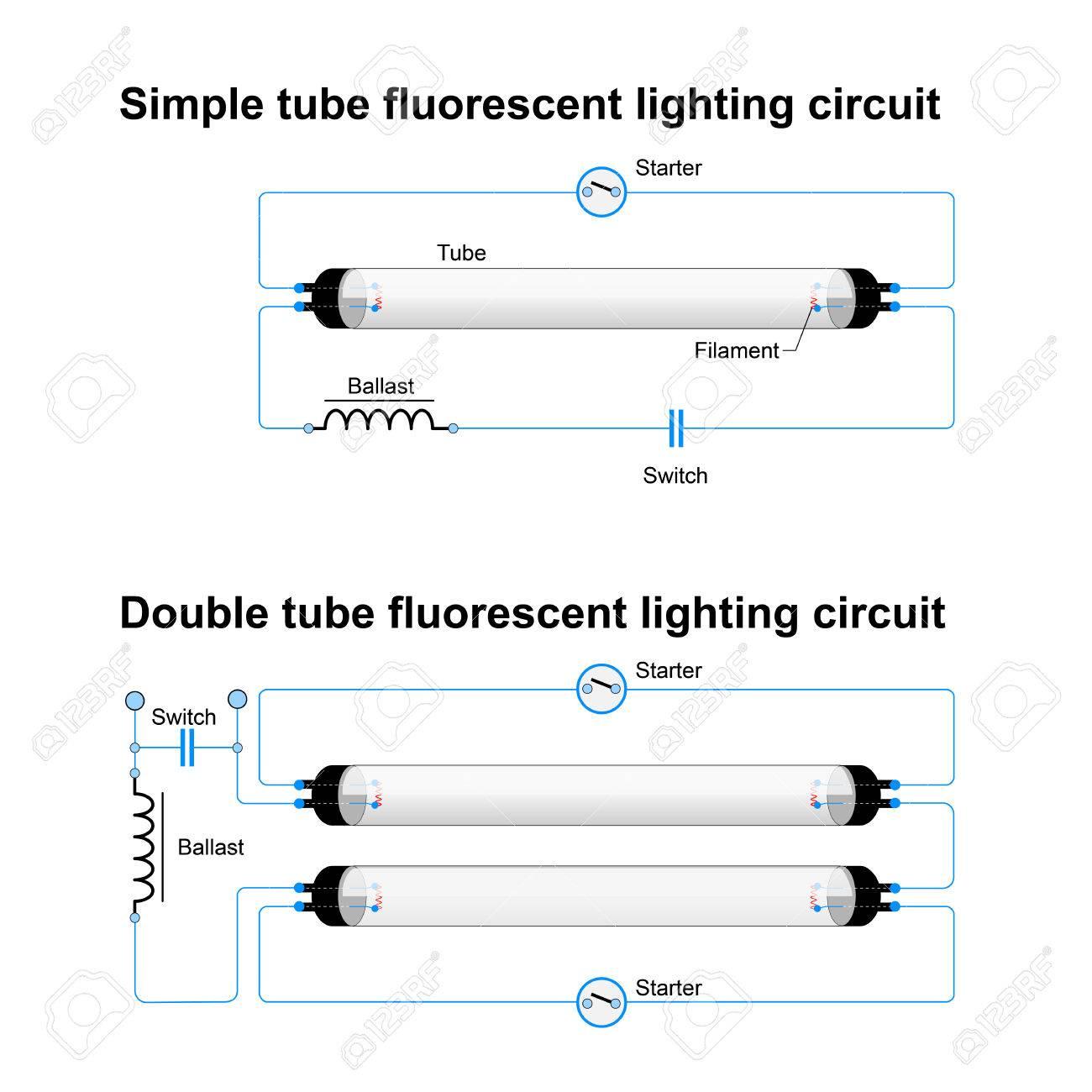 hight resolution of archivio fotografico circuito di illuminazione fluorescente singolo e doppio tubo schema vettoriale semplice