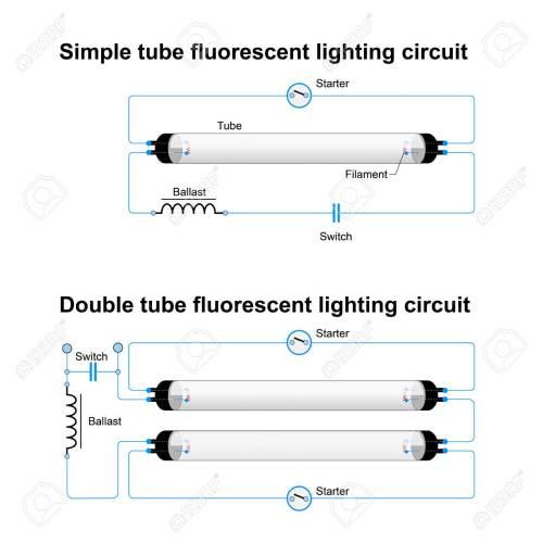 small resolution of archivio fotografico circuito di illuminazione fluorescente singolo e doppio tubo schema vettoriale semplice