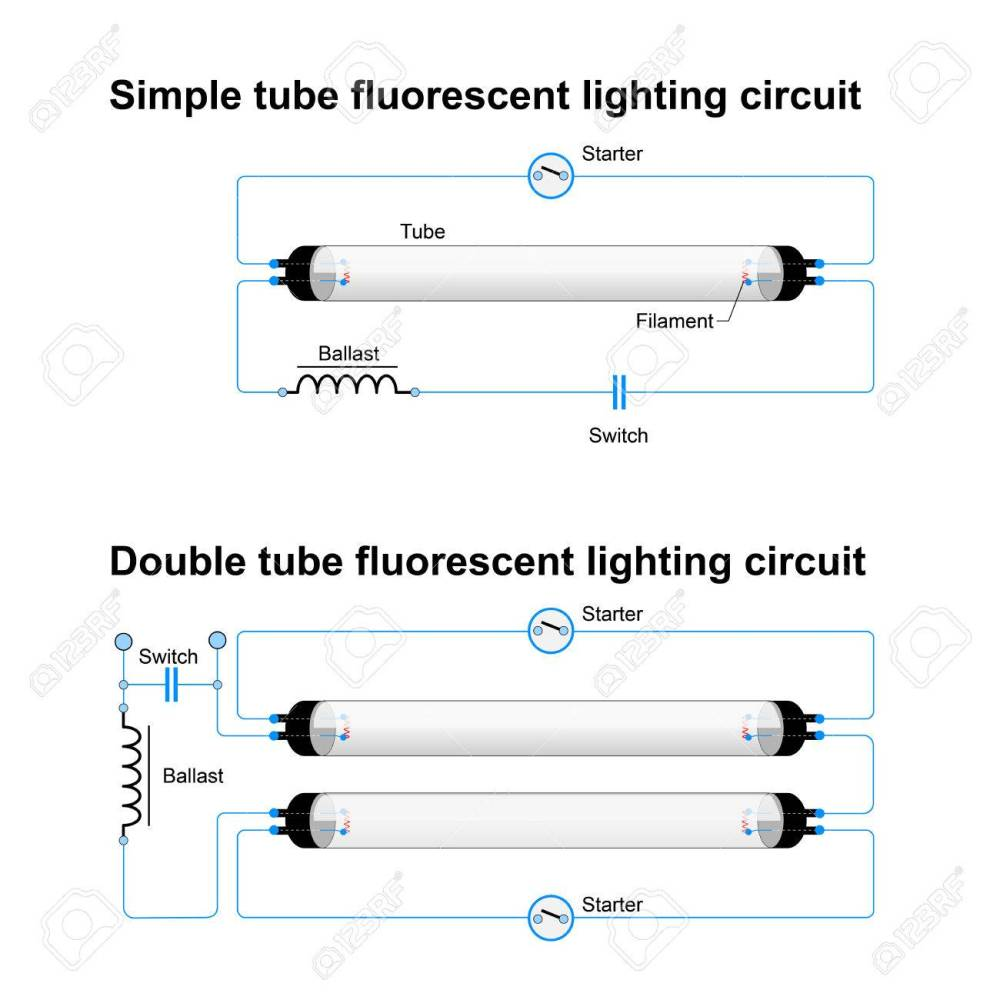 medium resolution of single and double tube fluorescent lighting circuit simple vector emergency fluorescent light wiring diagram fluorescent light wiring diagram