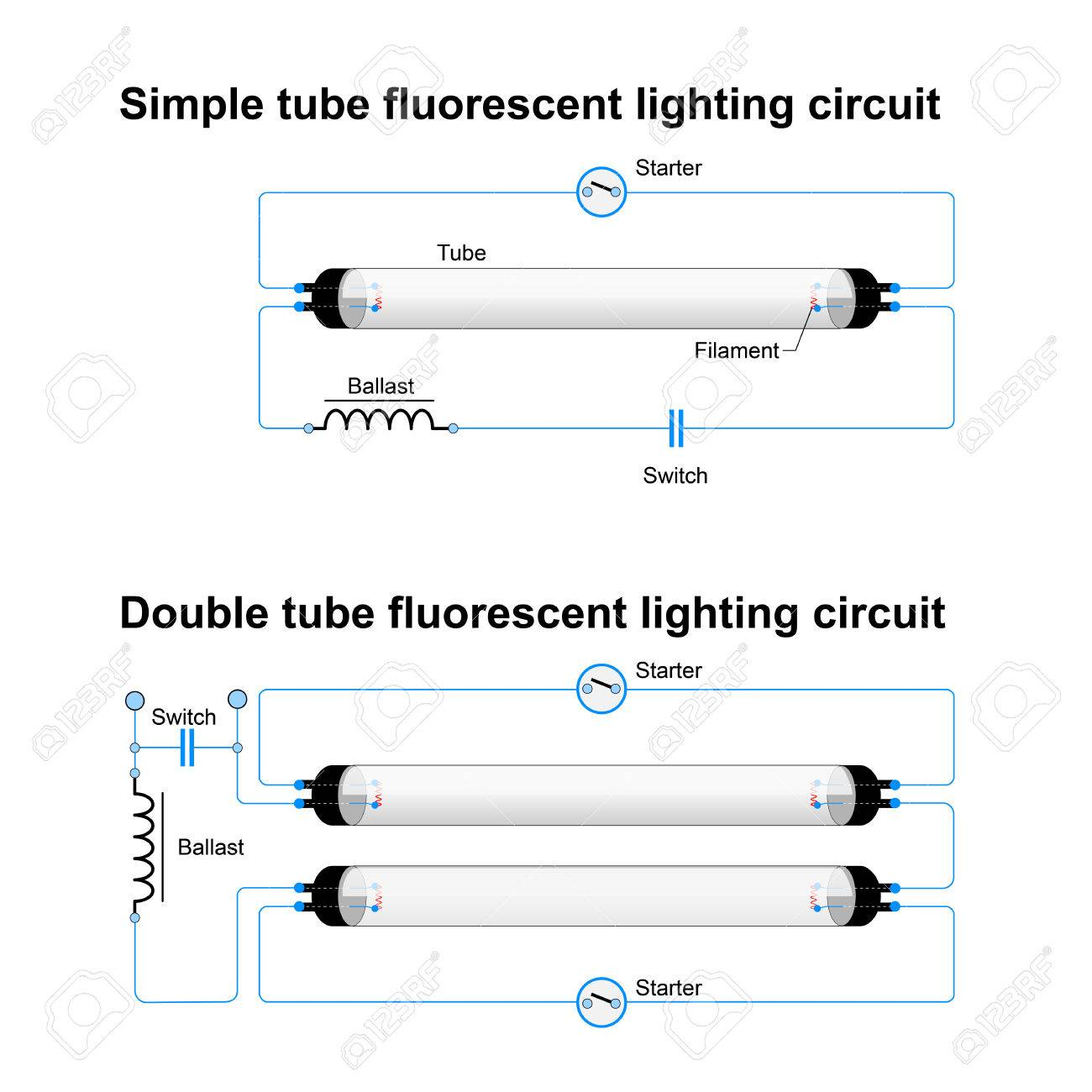 hight resolution of single and double tube fluorescent lighting circuit simple vector diagram of fluorescent lamp diagram of fluorescent lamp