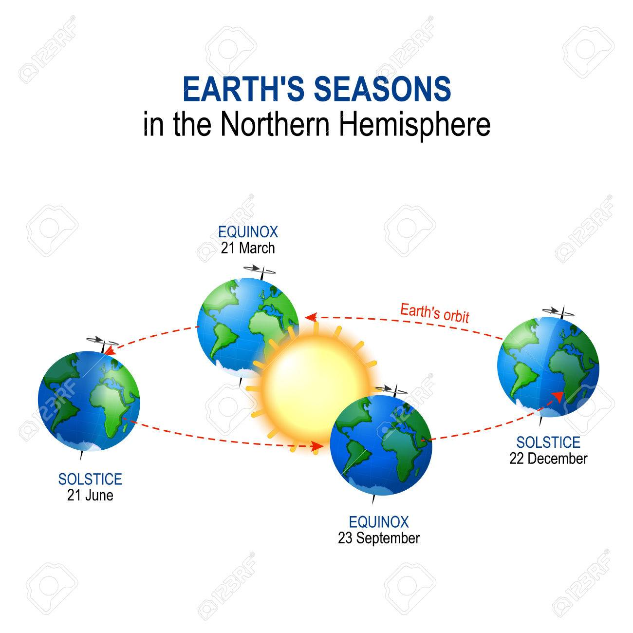 hight resolution of earth s seasons in the northern hemisphere illumination of earth by sun vector diagram stock