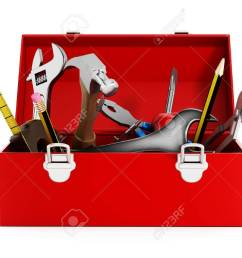 red toolbox full of hand tools isolated on white background stock photo 47188618 [ 1300 x 975 Pixel ]