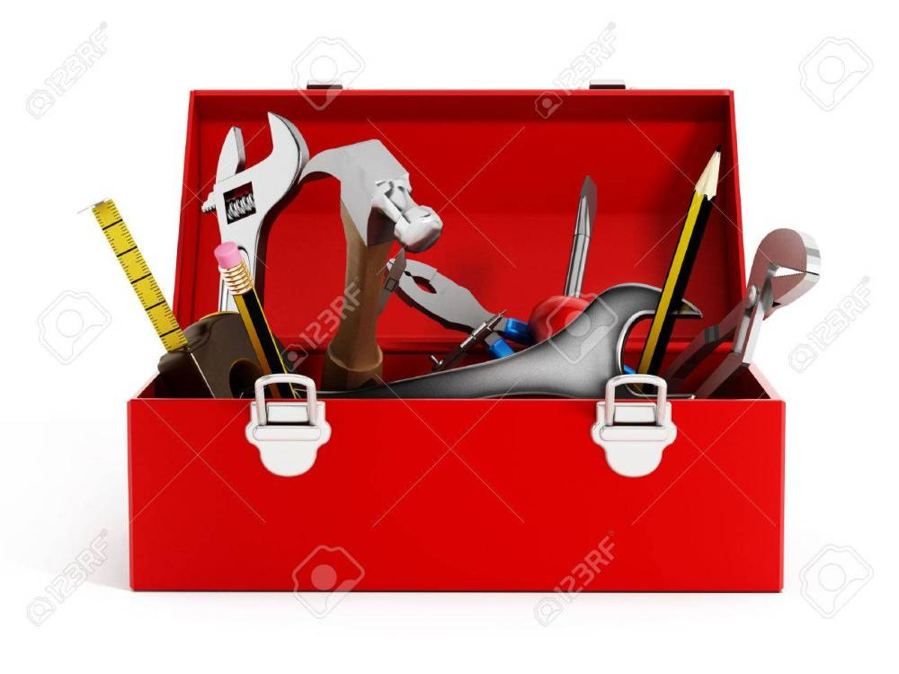 medium resolution of red toolbox full of hand tools isolated on white background stock photo 47188618