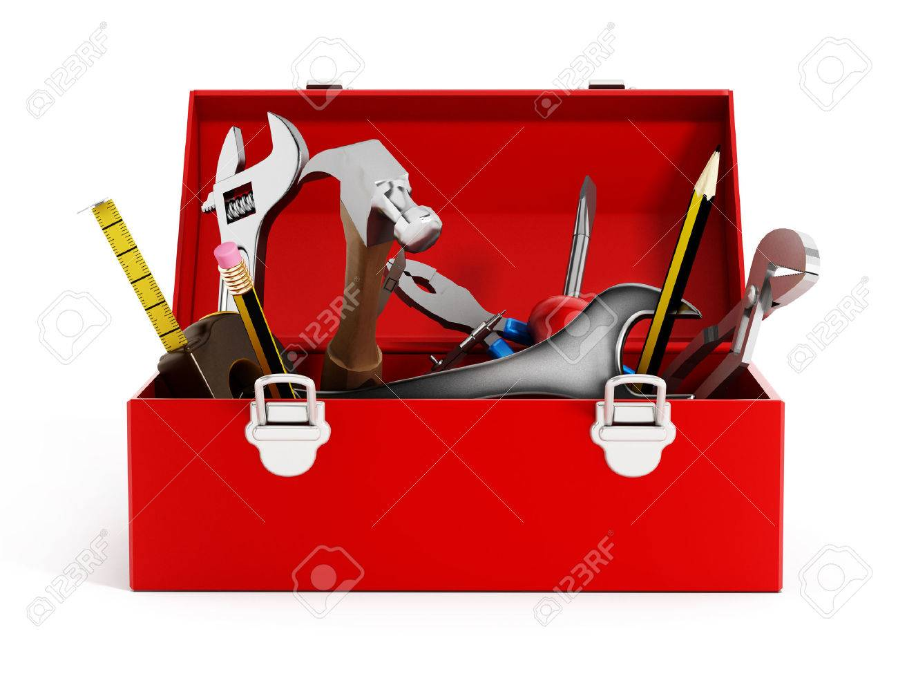 hight resolution of red toolbox full of hand tools isolated on white background stock photo 47188618