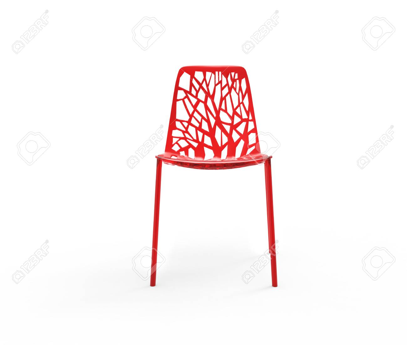 Plastic Clear Chair Modern Bright Red Clear Plastic Chair Front View
