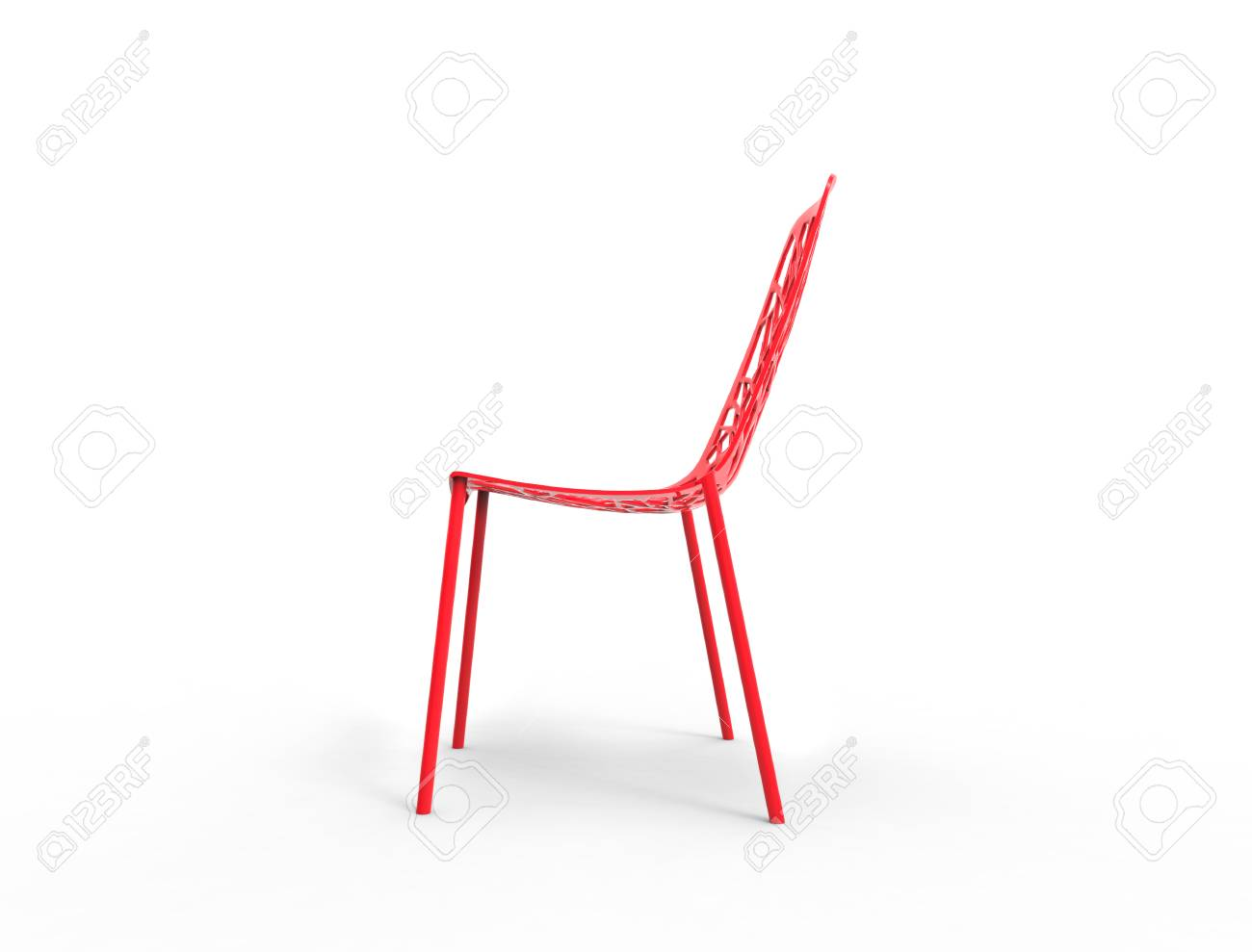 Plastic Clear Chair Modern Bright Red Clear Plastic Chair Side View