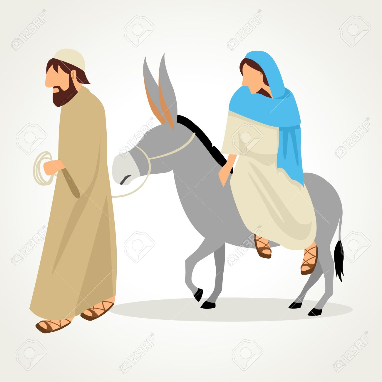 Simple Cartoon Of Mary And Joseph Journey To Bethlehem For Royalty Free Cliparts Vectors And Stock Illustration Image 50934217
