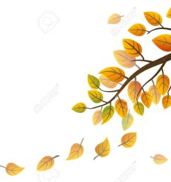 autumn branch with falling leaves on white background stock vector 44548605 [ 1300 x 866 Pixel ]