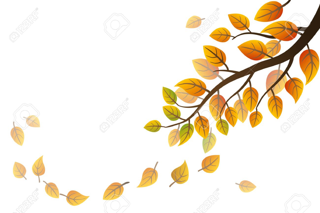 hight resolution of autumn branch with falling leaves on white background stock vector 44548605