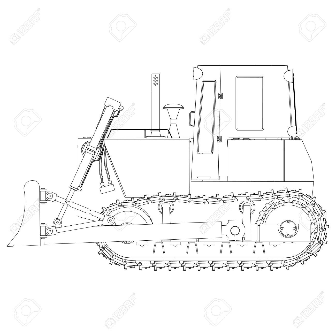 hight resolution of outline bulldozer construction icon vector excavator tractor equipment road illustration shovel stock vector 85494760