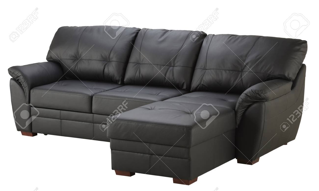 black brown leather corner sofa isolated on white stock photo picture and royalty free image image 78649652