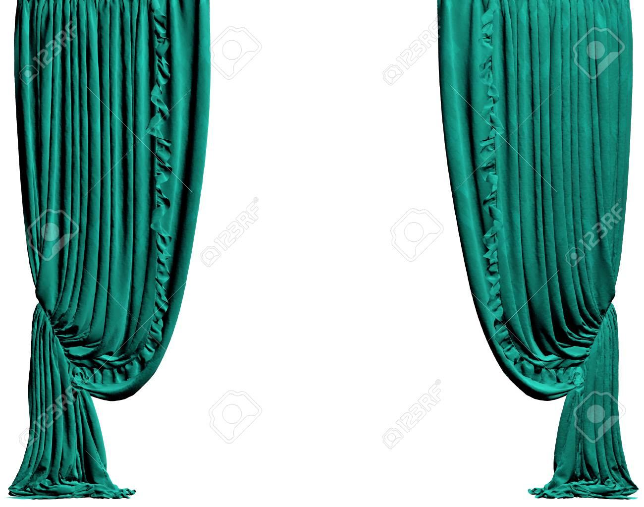 rideau turquoise un trace de detourage est isole sur fond blanc illustration 3d