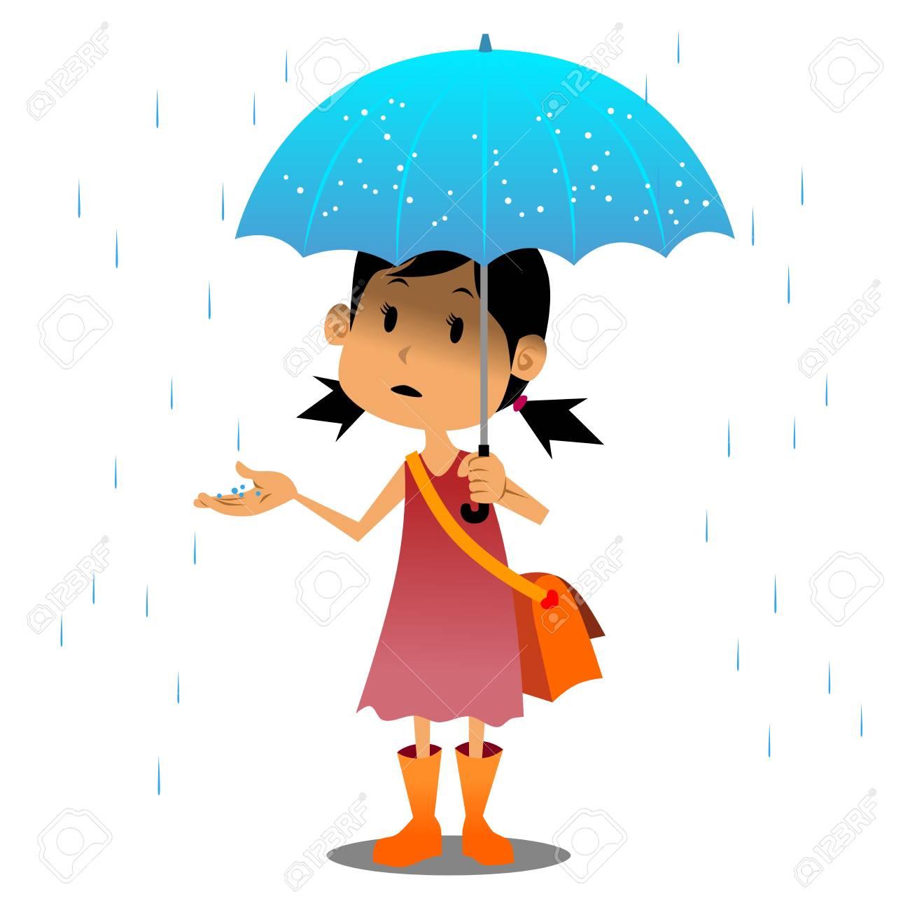 vector girl and umbrella