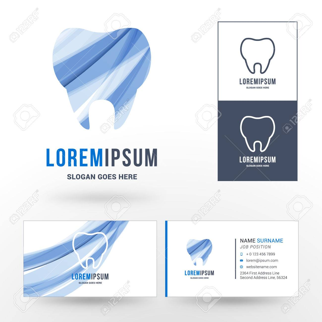 hight resolution of silhouettes of tooth with abstract blue waves logo for dental clinic