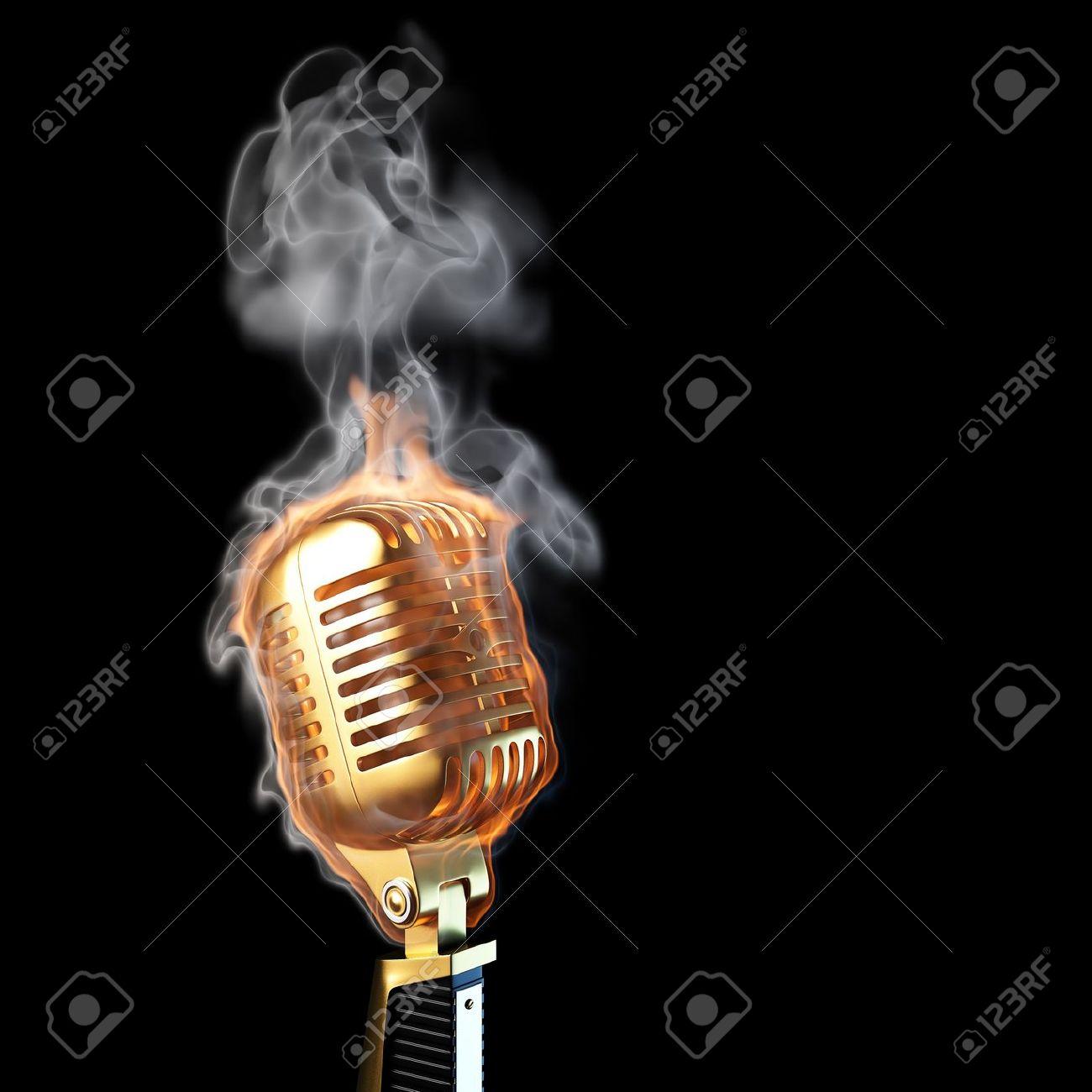 burning old golden microphone